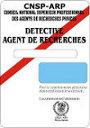 Modèle de Carte professionnelle de détective privé Cnsp